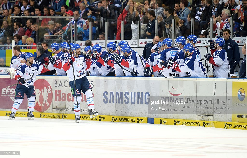Kai Hospelt and Kurtis Foster of the Adler Mannheim celebrate after scoring the 11 during the game between ERC Ingolstadt and Adler Mannheim on April...