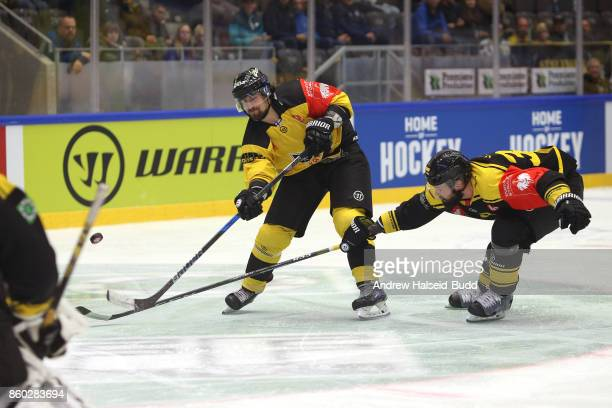 Kai Kantola from KalPa Kuopio in action against Villiam Strom from Stavanger Oilers during the Champions Hockey League match between Stavanger Oilers...