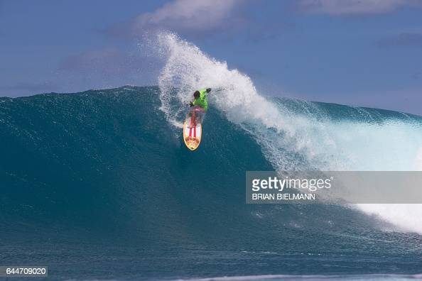 TOPSHOT Kai Lenny of Hawaii USA competes in the 2017 APP World Tour at Sunset Beach in Oahu Hawaii February 23 2017 == RESTRICTED TO EDITORIAL USE ==...