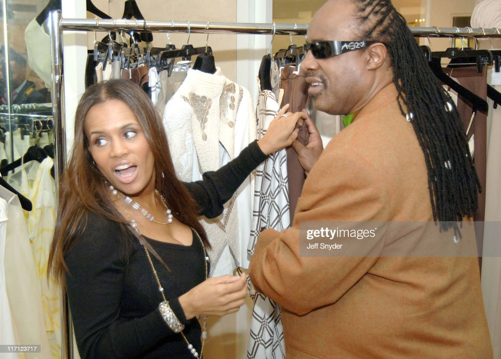 Kai Milla and husband Stevie Wonder during Stevie Wonder Attends His Wife Kai Milla's Fashion Show - December 11, 2005 at Saks Jandel in Washington, D.C., -, United States.