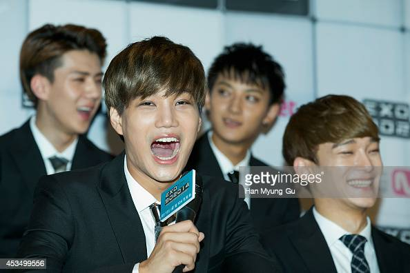 Kai of boy band EXO attends the press conference for Mnet EXO 902014 at CJ EM Center on August 11 2014 in Seoul South Korea The program will open on...