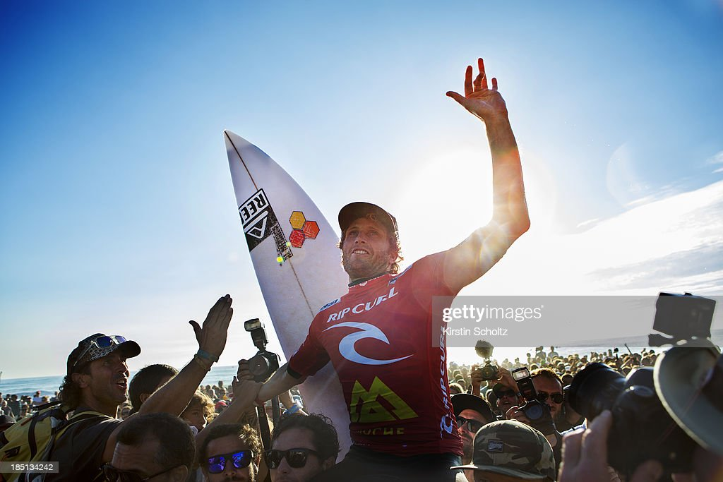 Kai Otton of Australia celebrates his victory at the Rip Curl Pro Portugal on October 17, 2013 in Peniche, Portugal.