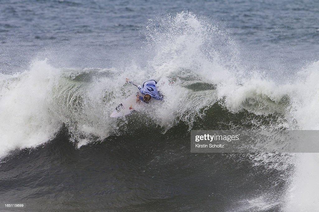 Kai Otton of Australia surfs into round four on March 31, 2013 in Bells Beach, Australia.
