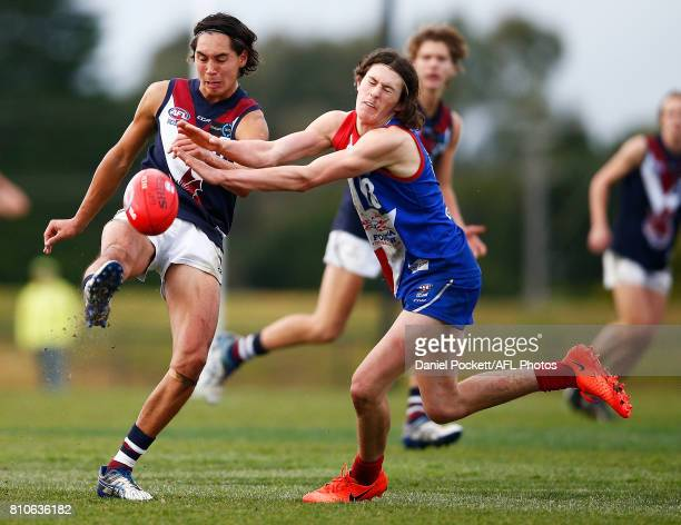 Kai Owens of the Dragons kicks the ball during the round 12 TAC Cup match between Gippsland and Sandringham at Casey Fields on July 8 2017 in...