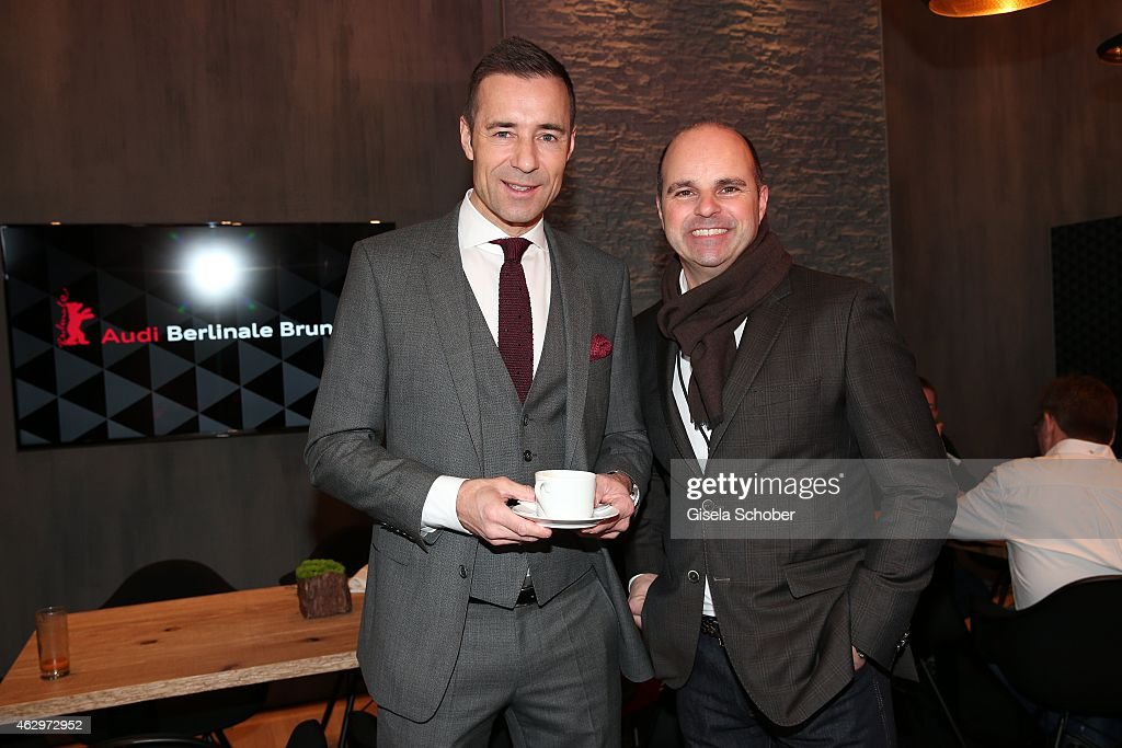 Kai Pflaume and Markus Siebrecht Head of Marketing AUDI Gemrany speak at the AUDI Berlinale Brunch during the 65th Berlinale International Film...