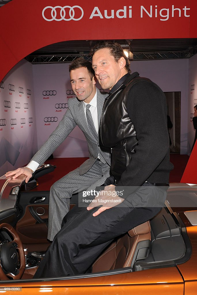 Kai Pflaume and Ralf Moeller attend the Audi Night at Hotel 'Zur Tenne' on January 22 2010 in Kitzbuehel Austria