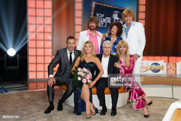 Kai Pflaume Audrey Landers Guenther Jauch Barbara Schoeneberger Frank Elstner Michelle Hunziker and Thomas Gottschalk during the photo call for TV...