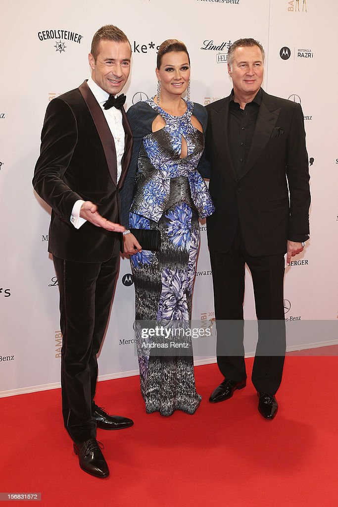 Kai Pflaume, Franziska van Almsick and husband Juergen Harder attend 'BAMBI Awards 2012' at the Stadthalle Duesseldorf on November 22, 2012 in Duesseldorf, Germany.