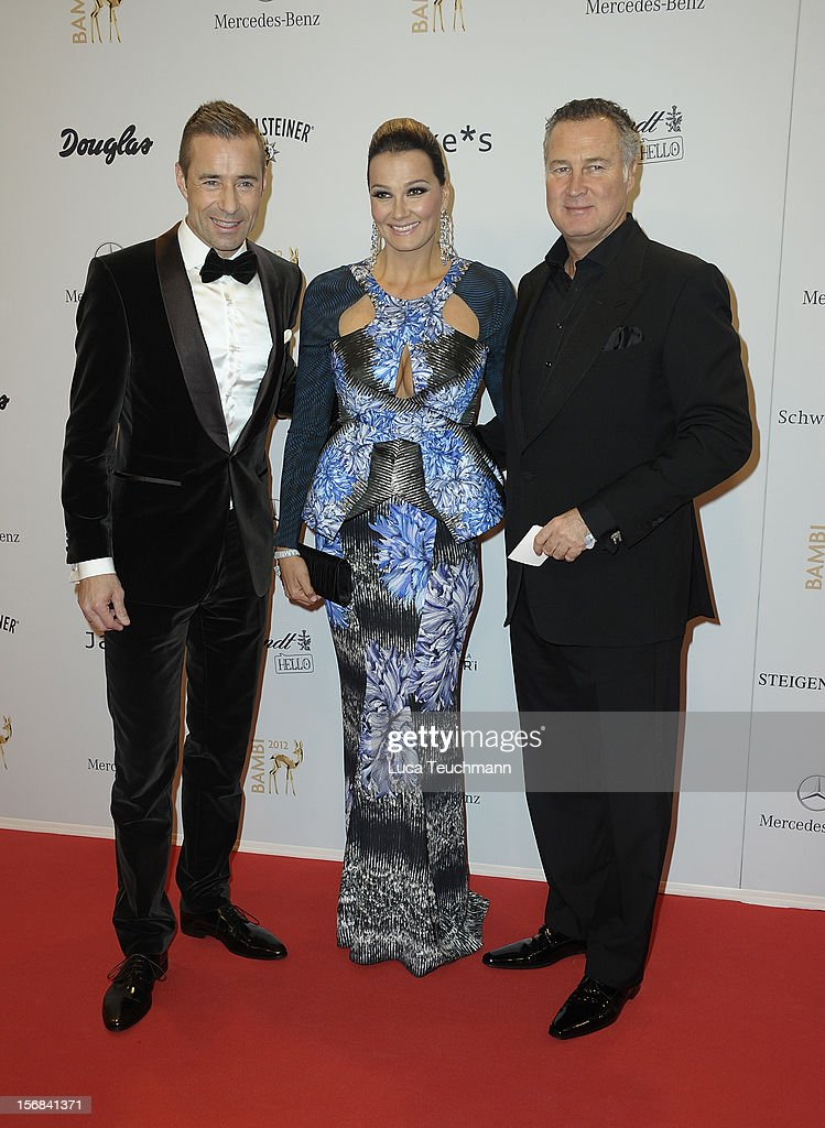Kai Pflaume, Franziska van Almsick and husband Juergen Harder attends 'BAMBI Awards 2012' at the Stadthalle Duesseldorf on November 22, 2012 in Duesseldorf, Germany.