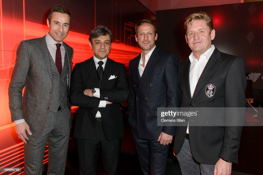 Kai Pflaume Luca de Meo Wotan Wilke Moehring and Wayne Griffiths attend the Audi City Berlin Opening on February 4 2014 in Berlin Germany