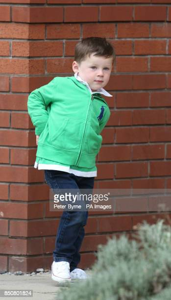 Kai Rooney leaves Liverpool Women's Hospital with his grandparents after visiting his mother Coleen who gave birth to Klay Anthony Rooney at 211am