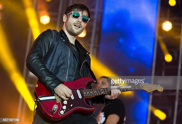 Kai Smith guitarist with Example performs at MTV Crashes Plymouth at Plymouth Hoe on July 15 2014 in Plymouth England