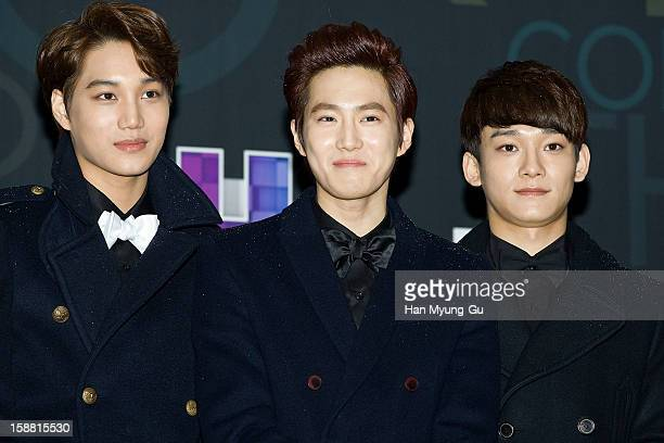 Kai Su Ho of boy band EXOK and Chen of boy band EXOM arrive at the 2012 SBS Korea Pop Music Festival named 'The Color Of KPop' at Korea University on...