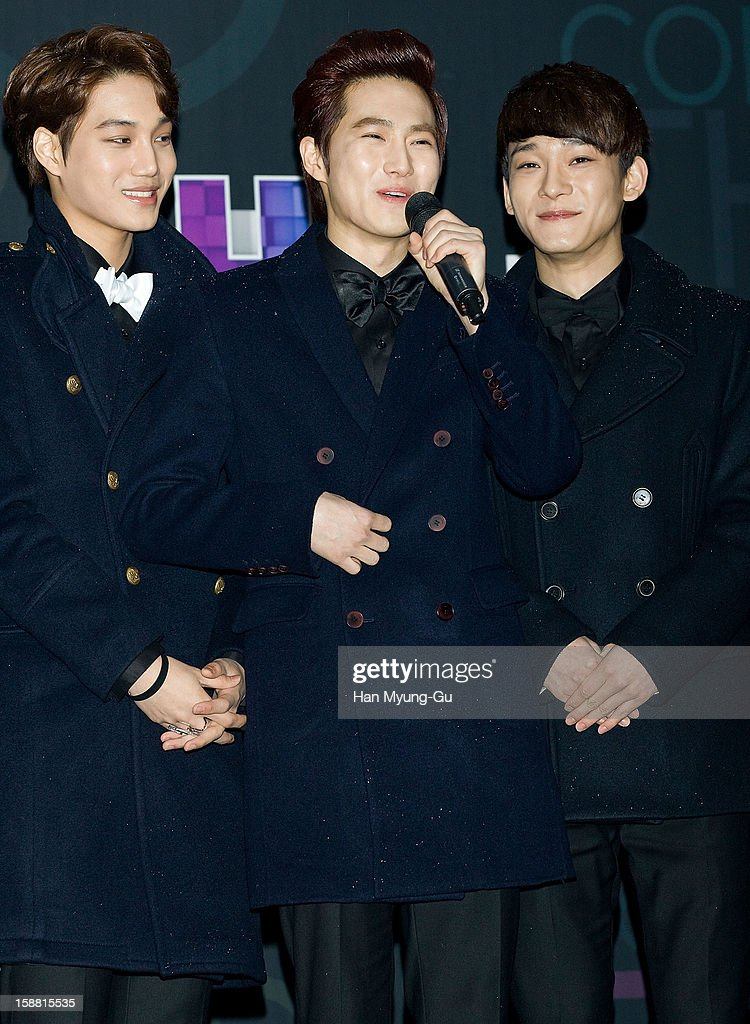 Kai, Su Ho of boy band EXO-K and Chen of boy band EXO-M arrive at the 2012 SBS Korea Pop Music Festival named 'The Color Of K-Pop' at Korea University on December 29, 2012 in Seoul, South Korea.