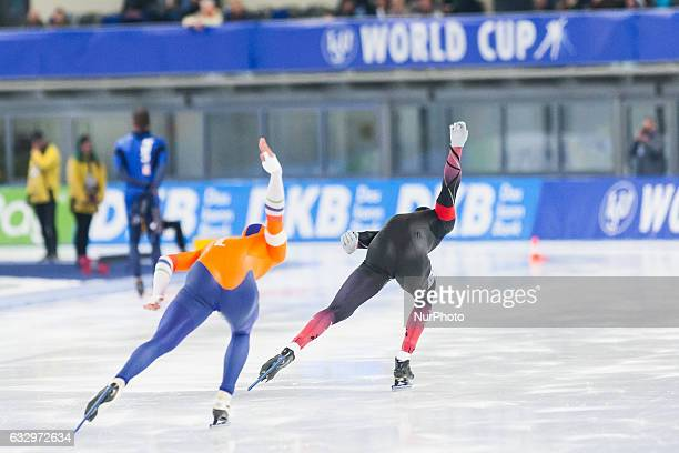 Kai Verbij Nico Ihle during the ISU World Cup Speed Skating Day 2 at the Sportforum Berlin Stadium on January 28 2017 in Berlin Germany