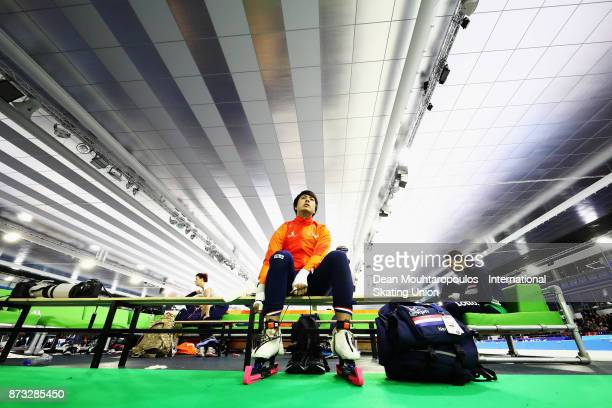 Kai Verbij of the Netherlands gets ready to compete in the Mens 1000m race on day three during the ISU World Cup Speed Skating held at Thialf on...