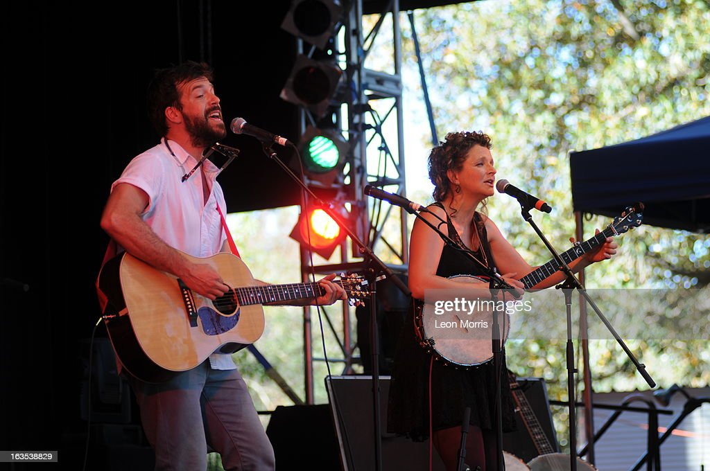 Kai Welch and Abigail Washburn performs on stage at Womadelaide 2013 at Botanic Park on March 10, 2013 in Adelaide, Australia.