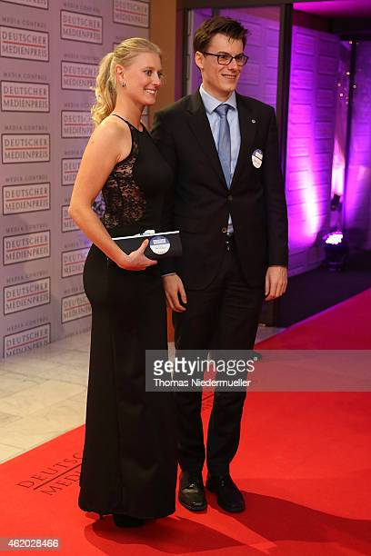 Kai Whittaker and his sister Leigh Whittaker arrive the red carpet during the German Media Award 2014 on January 23 2015 in BadenBaden Germany