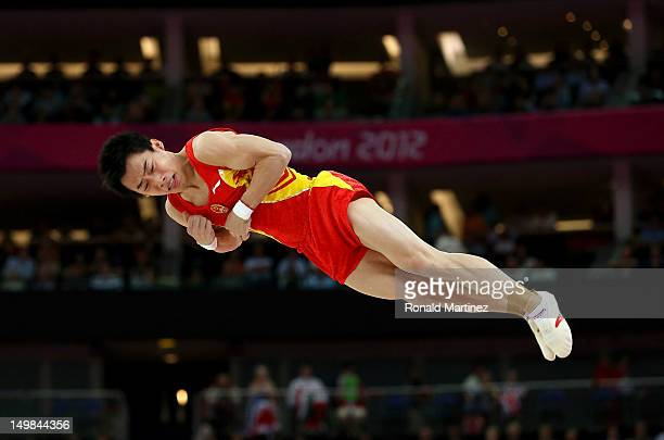 Kai Zou of China competes on the floor in the Artistic Gymnastics Men's Floor Exercise final on Day 9 of the London 2012 Olympic Games at North...