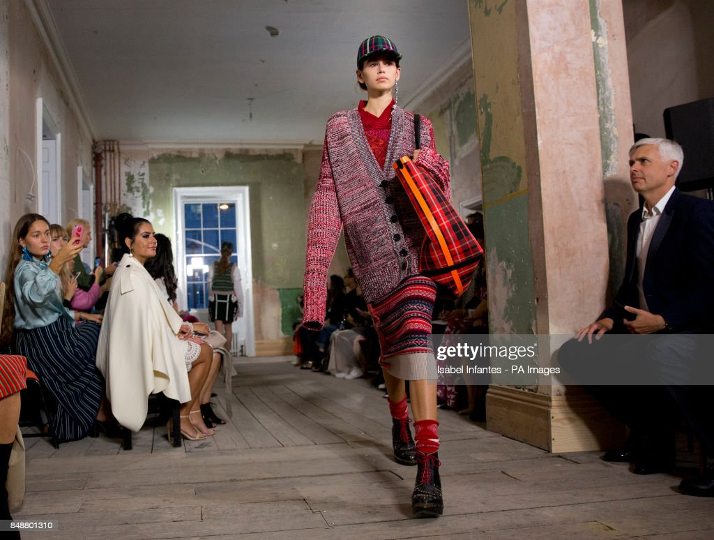 Kaia Gerber, 16-year-old daughter of the supermodel Cindy Crawford, on the catwalk during the Burberry London Fashion Week SS18 show held at Old Sessions House, London