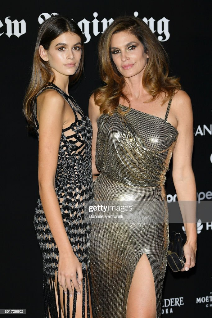 Kaia Gerber and Cindy Crawford attend theVogue Italia 'The New Beginning' Party during Milan Fashion Week Spring/Summer 2018 on September 22, 2017 in Milan, Italy.