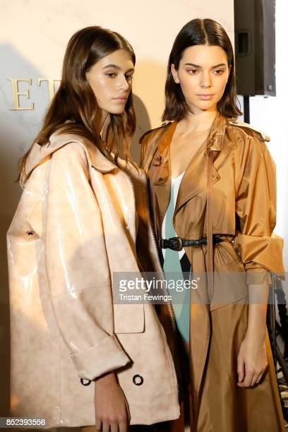Kaia Gerber and Kendall Jenner are seen backstage ahead of the Bottega Veneta show during Milan Fashion Week Spring/Summer 2018 on September 23 2017...