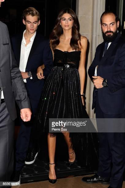 Kaia Gerber and Presley Gerber leave their hotel on September 29 2017 in Paris France