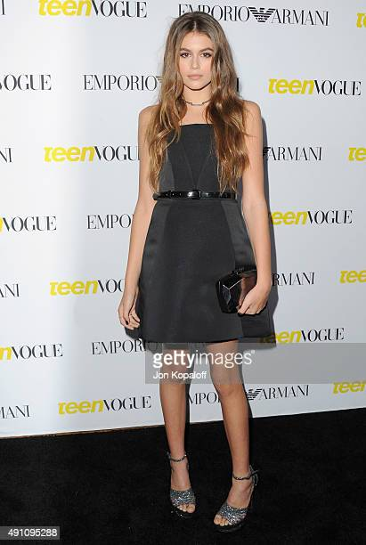 Kaia Gerber arrives at Teen Vogue's 13th Annual Young Hollywood Issue Launch Party on October 2 2015 in Los Angeles California