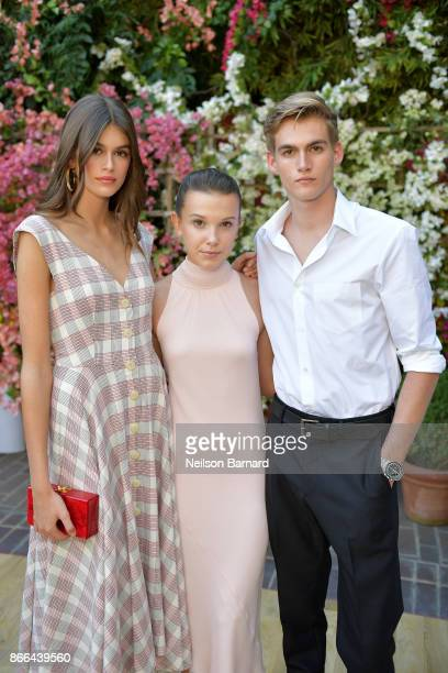 Kaia Gerber Millie Bobby Brown and Presley Gerber attend CFDA/Vogue Fashion Fund Show and Tea at Chateau Marmont at Chateau Marmont on October 25...