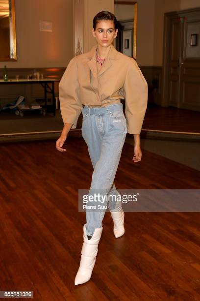 Kaia Gerber poses prior the Off/White show as part of the Paris Fashion Week Womenswear Spring/Summer 2018 on September 28 2017 in Paris France