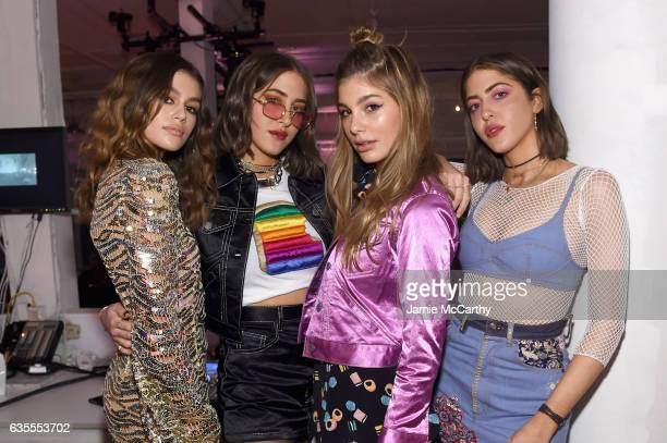 Kaia Gerber Simi Khadra Cami Morrone and Haze Khadra attend Marc Jacobs Beauty Celebrates Kaia Gerber on February 15 2017 in New York City