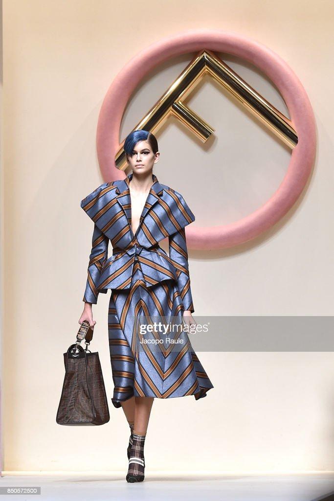 Kaia Gerber walks the runway at the Fendi show during Milan Fashion Week Spring/Summer 2018 on September 21, 2017 in Milan, Italy.