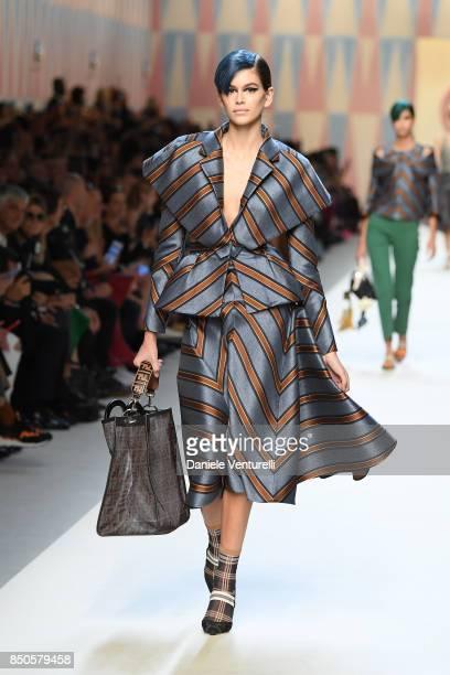 Kaia Gerber walks the runway at the Fendi show during Milan Fashion Week Spring/Summer 2018 on September 21 2017 in Milan Italy