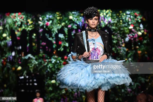 Kaia Gerber walks the runway at the Moschino show during Milan Fashion Week Spring/Summer 2018 on September 21 2017 in Milan Italy