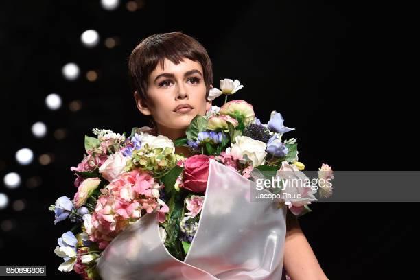 Kaia Gerber walks the runway at the Moschino show during Milan Fashion Week Spring/Summer 2018 on September 21 2017 in Milan Italy