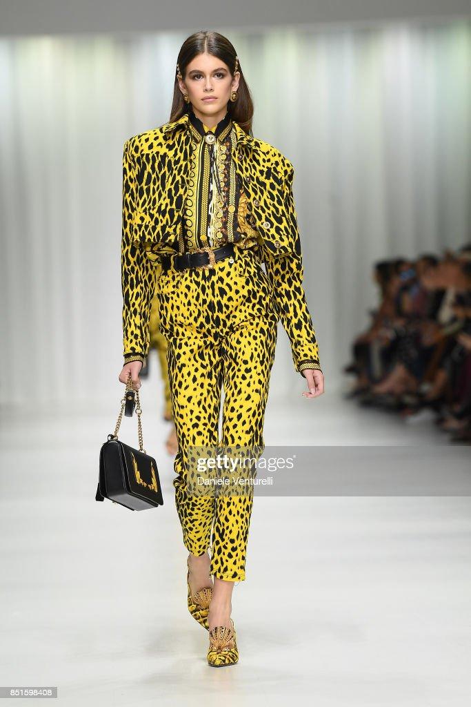 Kaia Gerber walks the runway at the Versace show during Milan Fashion Week Spring/Summer 2018 on September 22, 2017 in Milan, Italy.