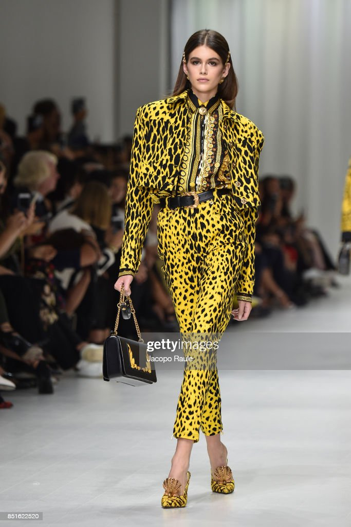 Kaia Gerber walks the runway at the Versace show during Milan Fashion Week Spring/Summer 2018 on September 22, 2017 in Milan, Italy.