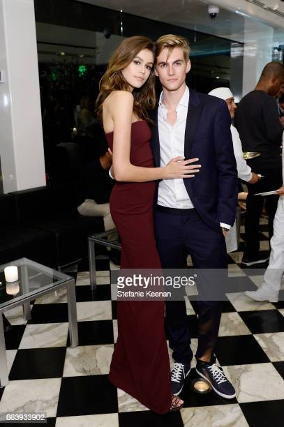 Kaia Jordan Gerber and Presley Walker Gerber attend The Daily Front Row and REVOLVE FLA after party at Mr Chow hosted by Mert Alas on April 2 2017 in...