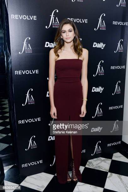 Kaia Jordan Gerber attends The Daily Front Row and REVOLVE FLA after party at Mr Chow hosted by Mert Alas on April 2 2017 in Los Angeles California