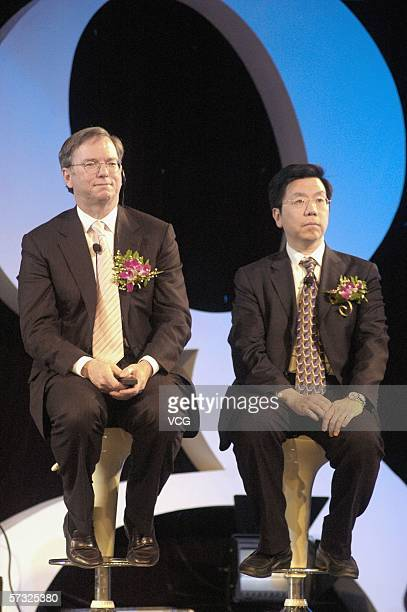 KaiFu Lee Vice President Engineering and President of Google China and Google chief executive Eric Schmidt attend the inauguration of the company new...