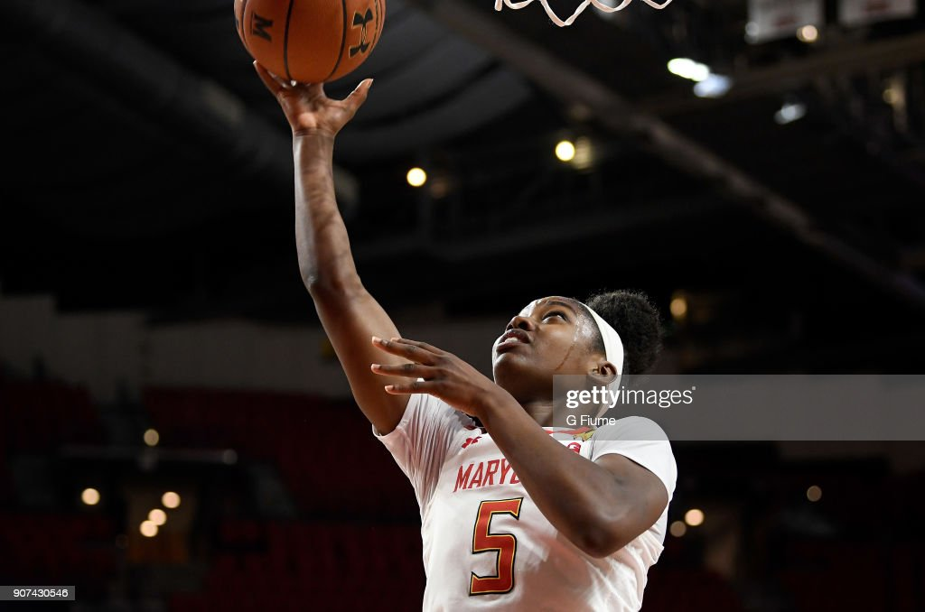 Kaila Charles #5 of the Maryland Terrapins drives to the hoop against the Mount St. Mary's Mountaineers at Xfinity Center on December 6, 2017 in College Park, Maryland.