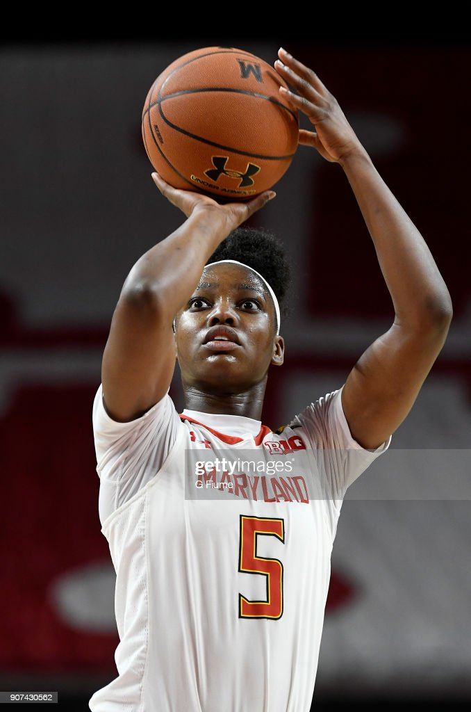 Kaila Charles #5 of the Maryland Terrapins shoots a free throw against the Mount St. Mary's Mountaineers at Xfinity Center on December 6, 2017 in College Park, Maryland.