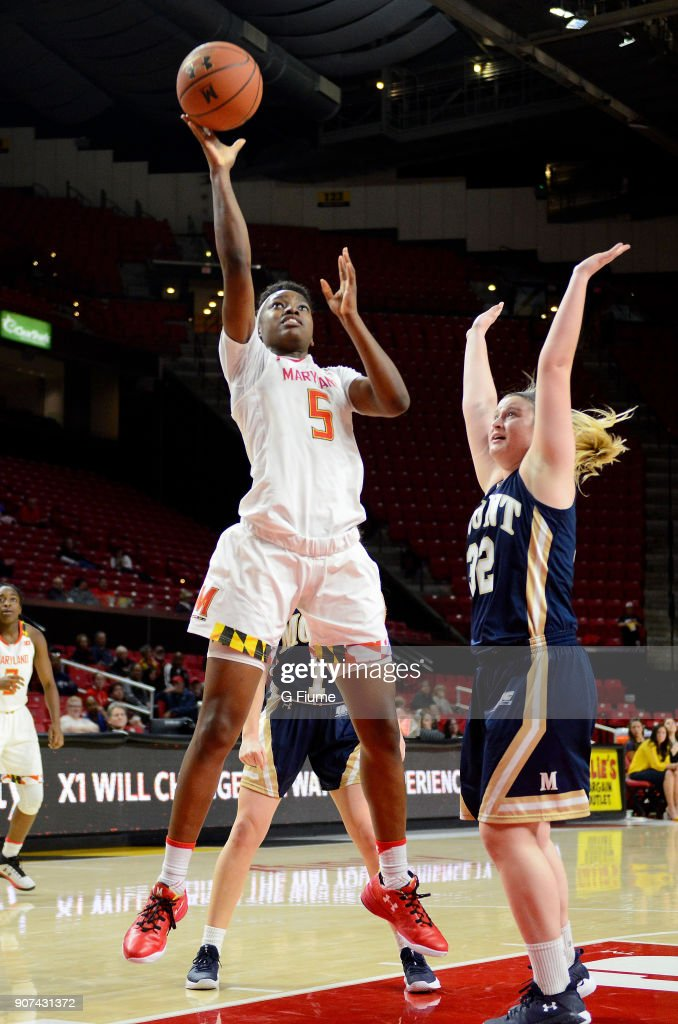 Kaila Charles #5 of the Maryland Terrapins shoots the ball against the Mount St. Mary's Mountaineers at Xfinity Center on December 6, 2017 in College Park, Maryland.