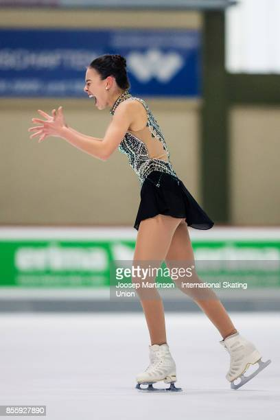 Kailani Craine of Australia reacts in the Ladies Free Skating during the Nebelhorn Trophy 2017 at Eissportzentrum on September 30 2017 in Oberstdorf...