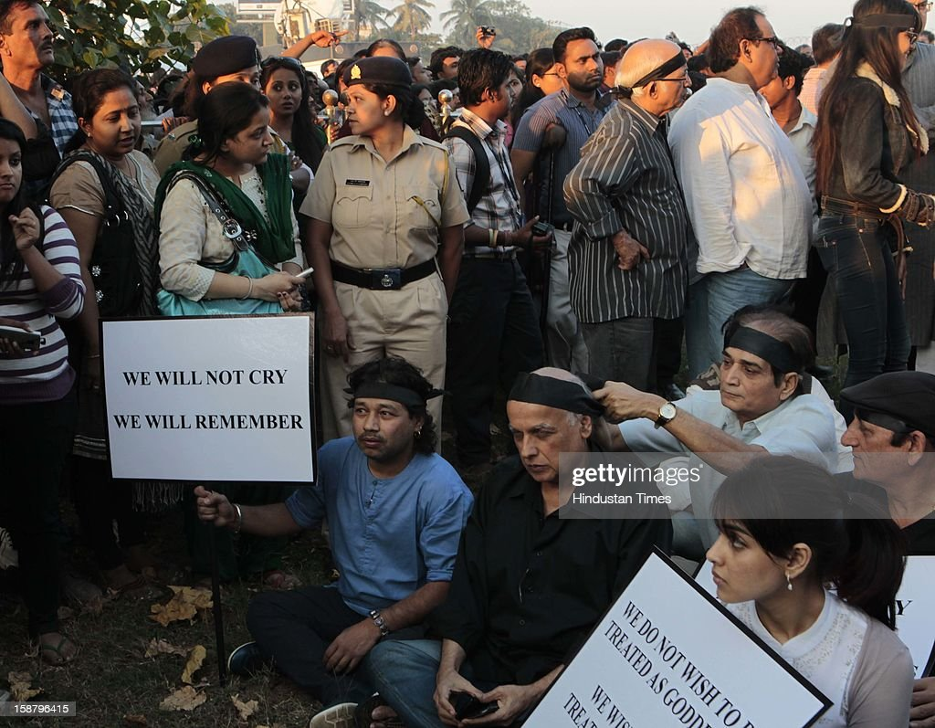 Kailash Kher, Mahesh Bhatt during protest by the Bollywood Film Industry against the Delhi rape incident at Juhuon December 29, 2012 in Mumbai, India.The girl died of injuries in Singapore hospital after brutally gang raped in a moving bus on December 16, in Delhi.