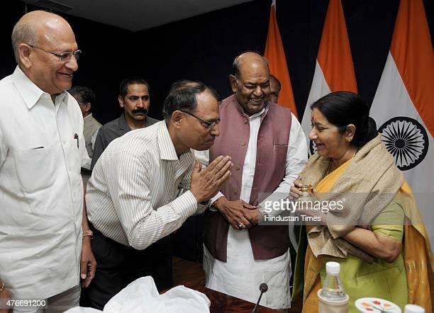 Kailash Mansarovar Yatris greets Union External Affairs Minister Sushma Swaraj during the first batch of Kailash Mansarovar Yatra at Jawahar Lal...