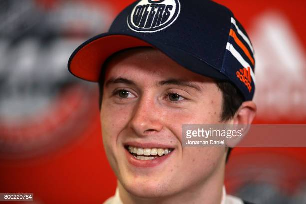 Kailer Yamamoto is interviewed after being selected 22nd overall by the Edmonton Oilers during the 2017 NHL Draft at the United Center on June 23...