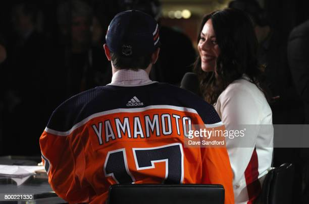 Kailer Yamamoto is interviewed after being selected 22nd overall by the Edmonton Oil during Round One of the 2017 NHL Draft at United Center on June...