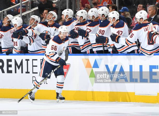 Kailer Yamamoto of the Edmonton Oilers celebrates after scoring a goal during the preseason game against the Vancouver Canucks on September 22 2017...