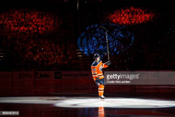 Kailer Yamamoto of the Edmonton Oilers is introduced prior to the start of the Oilers home opener against the Calgary Flames at Rogers Place on...